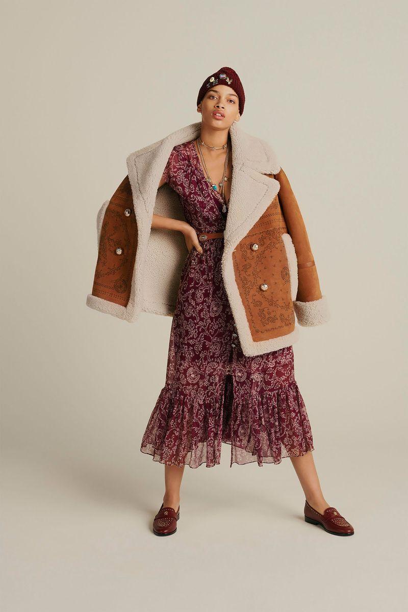 Модная дубленка зима 2021 с широкими лацканами из коллекции Tommy Hilfiger