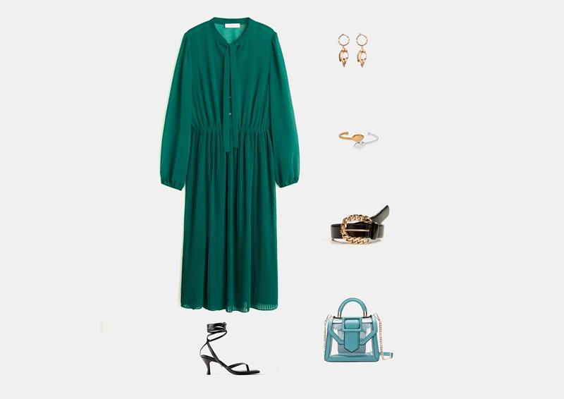 Инфографика: аутфит с длинным ярко-зеленым платьем