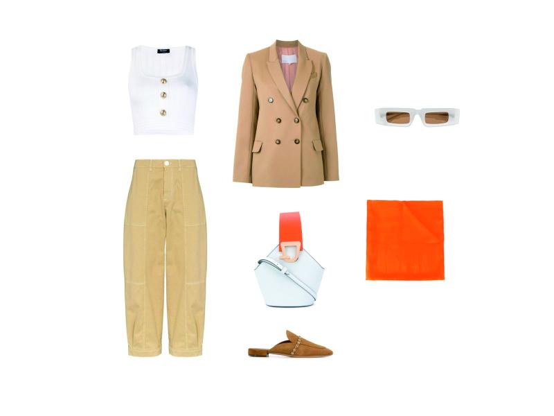 Что носить с бежевыми укороченными брюками