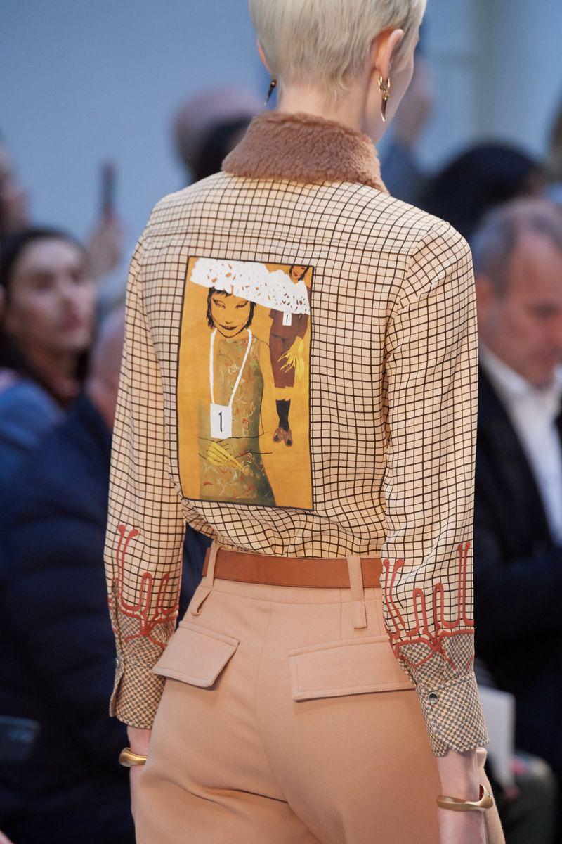 Модная клетчатая рубашка с принтом из коллекции осень-зима 2020-2021 Chloé