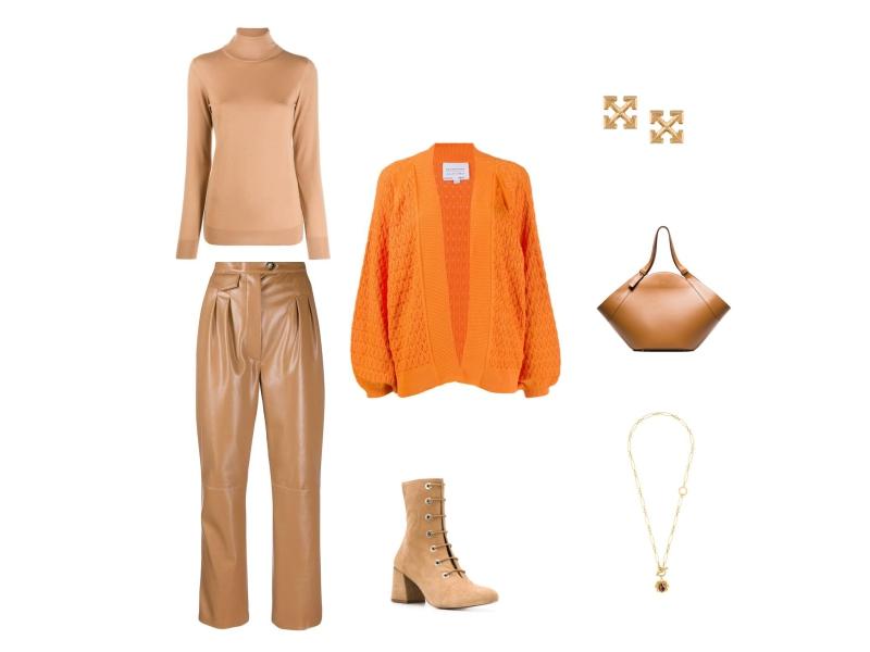 Как носить осенью темно-бежевые брюки из кожи