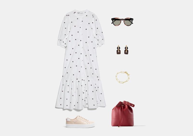 Летний образ с белым длинным платьем и бежевыми кроссовками