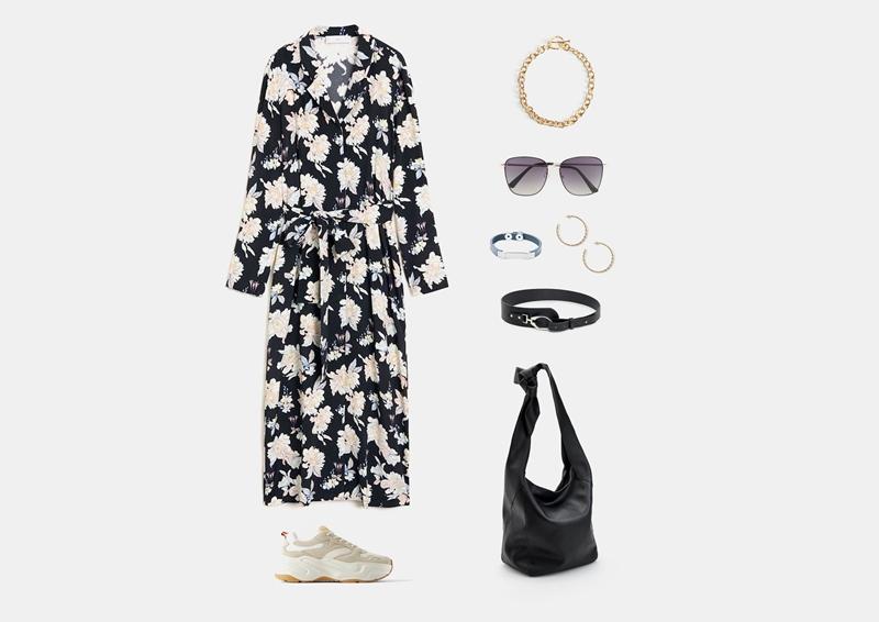 Образ с черным длинным платьем и кроссовками