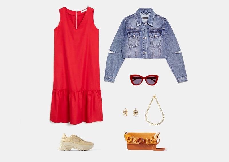 Образ с коротким красным платьем и кроссовками