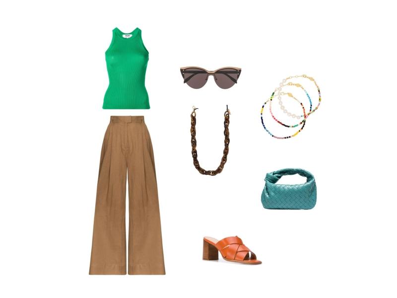 С чем носить летом широкие бежевые брюки палаццо