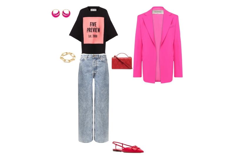 Инфографика: комплект с серыми джинсами и ярко-розовым пиджаком