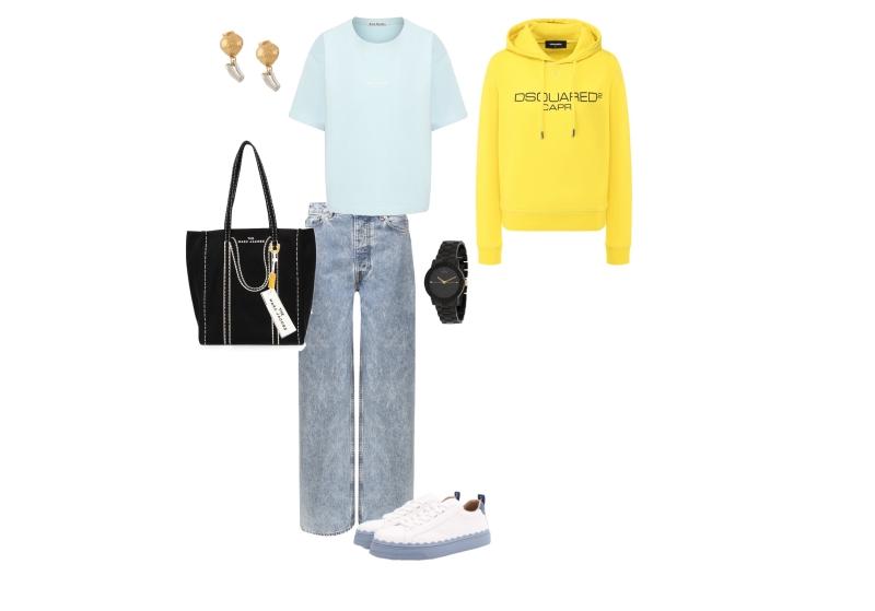 Инфографика: комплект с широкими джинсами и свитшотом