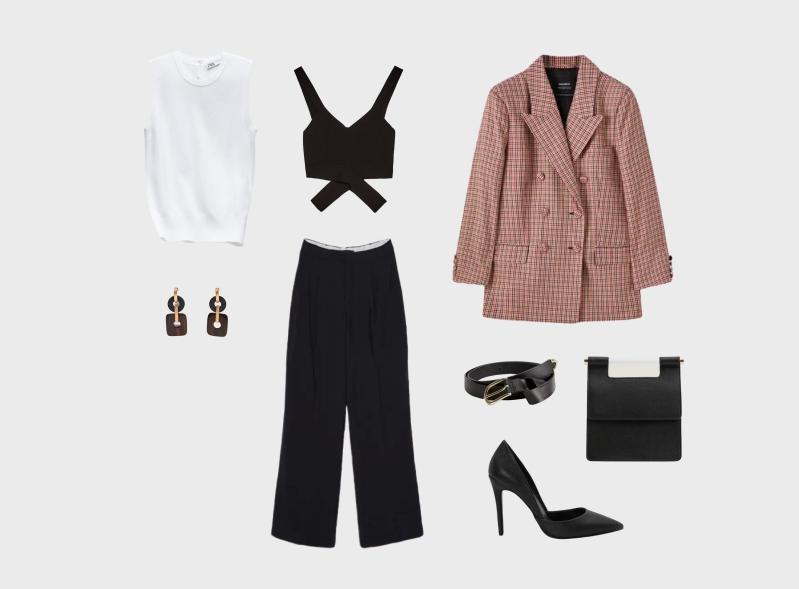 Инфографика: образ с черными брюками и пиджаком