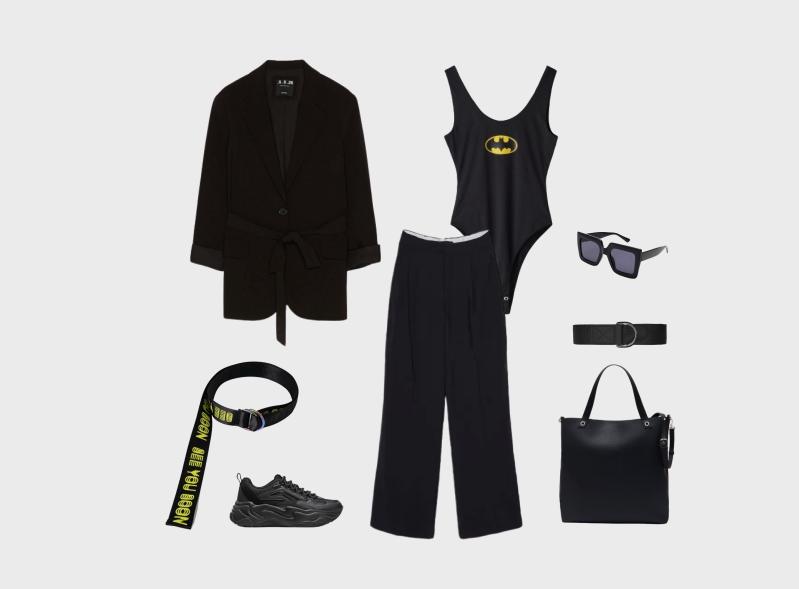 Инфографика: образ с черными широкими брюками и кроссовками