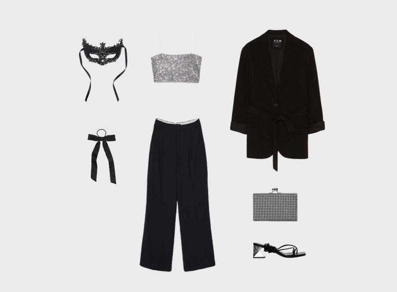 Инфографика: новогодний образ с черными брюками с завышенной посадкой и укороченным кроп-топом