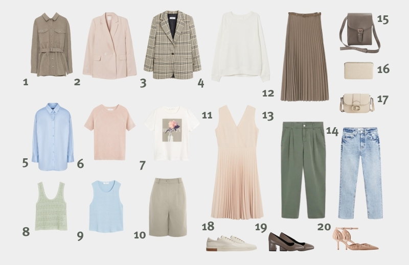 Инфографика: базовый гардероб для женщины 30-35 лет