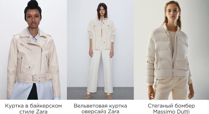 Модные модели белых курток в масс-маркете