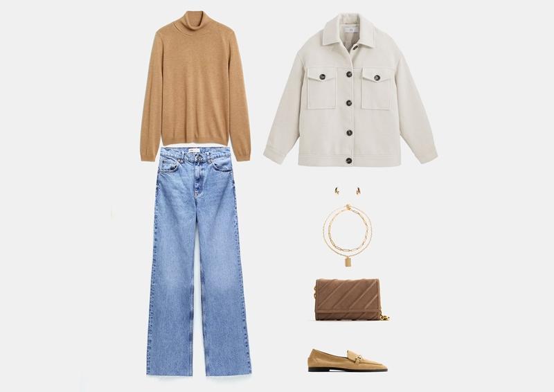 Образ с модной курткой-рубашкой размера оверсайз