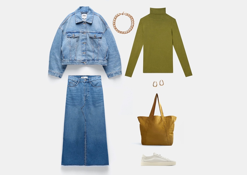 Образ с объемной джинсовой курткой