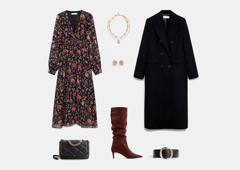 С черным длинным пальто