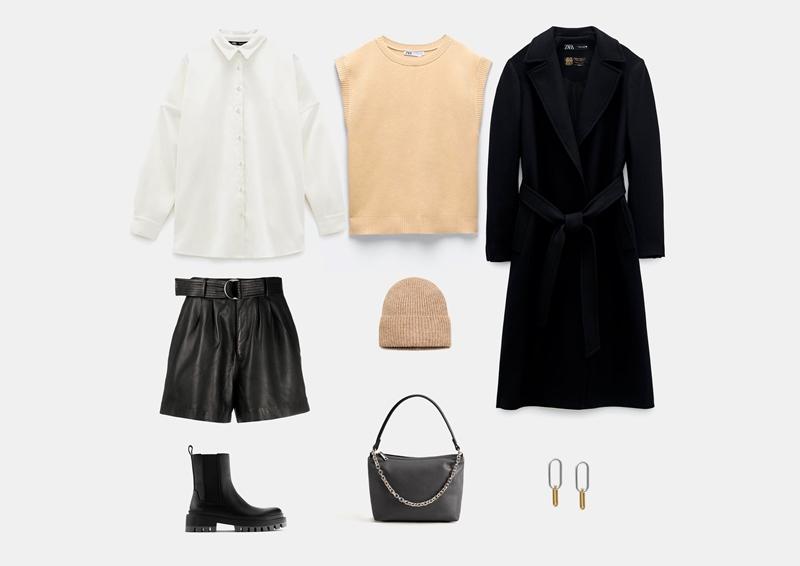 С черным пальто без пуговиц