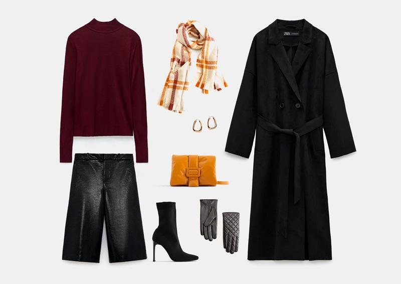 С черным пальто модного фасона «халат»
