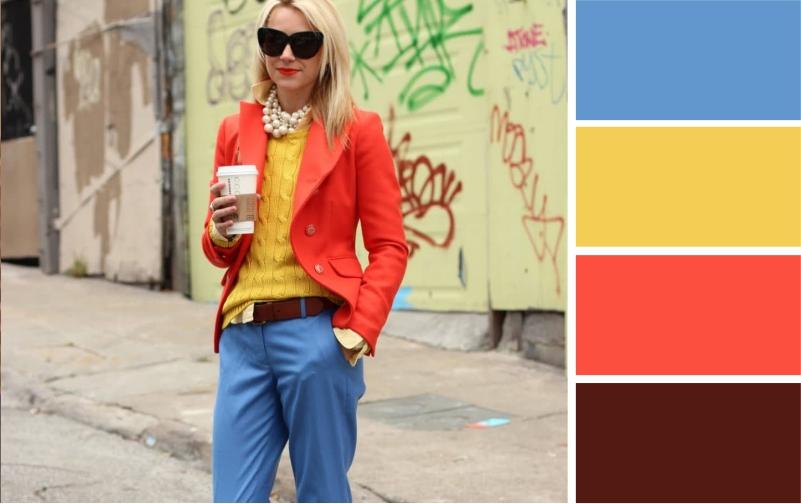 Цветовые сочетания с синими брюками