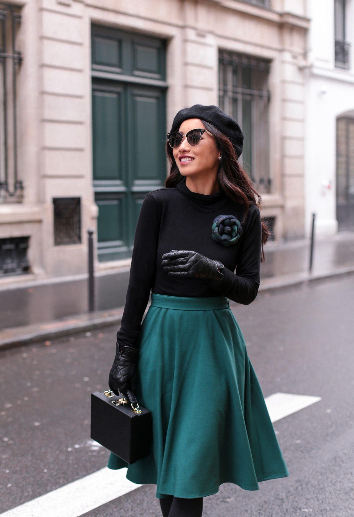 С чем носить зеленую юбку солнце