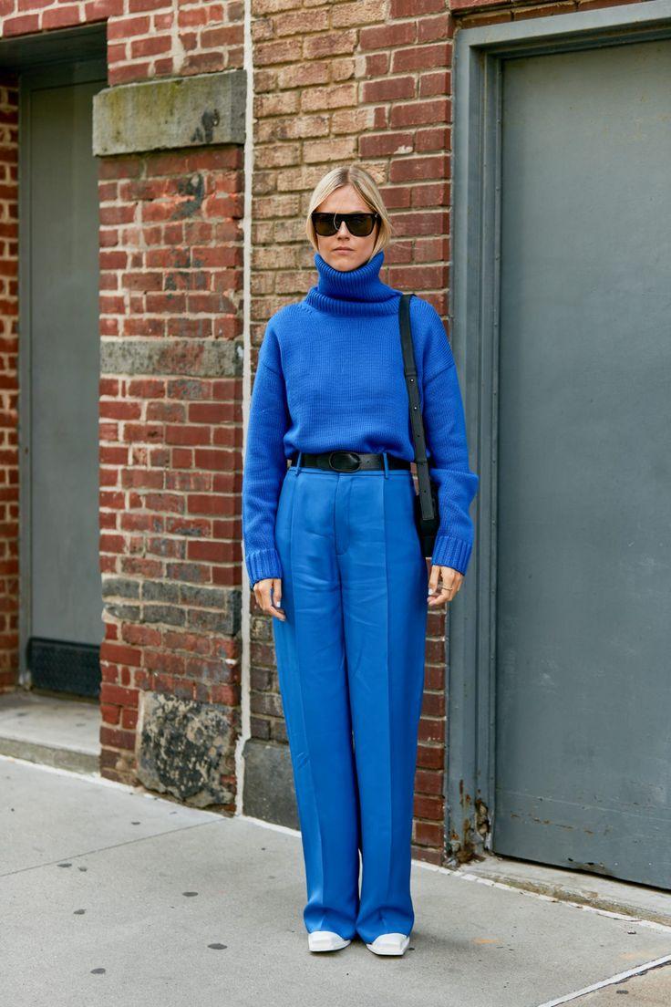 total look с классическими синими брюками