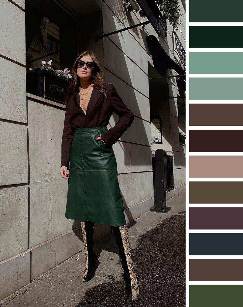 С чем носить темно-зеленую юбку: подходящие цвета