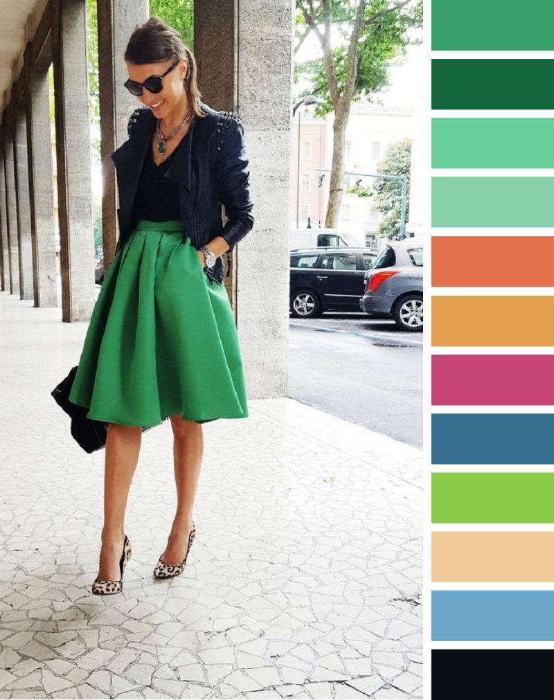 С чем носить ярко-зеленую юбку: подходящие цвета