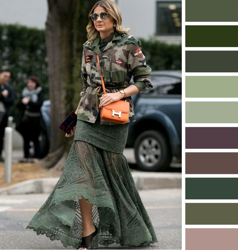 С чем носить юбку цвета хаки: подходящие цвета