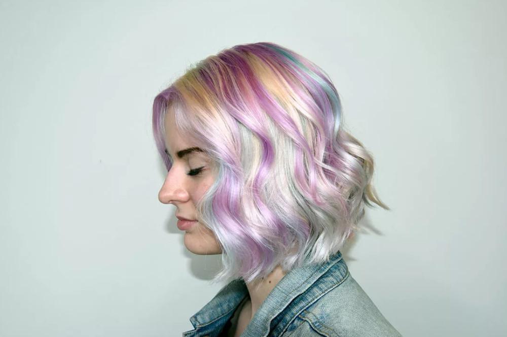 Розово-голубые волосы
