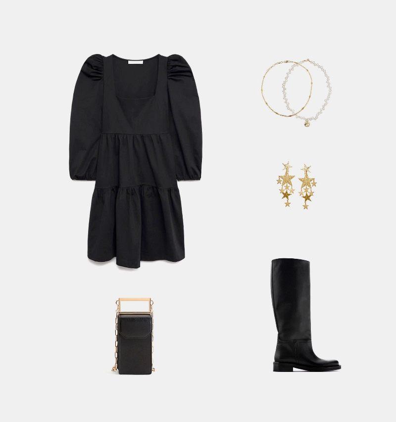 Новогодний образ с коротким черным платьем
